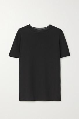 Joseph Rubin Ribbed Knit-trimmed Silk-crepe T-shirt - Black