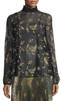 Suno Long-Sleeve Sheer Floral Silk Chiffon Top, Black/Gold