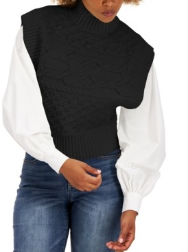 INC International Concepts Mock Neck Cable-Knit Vest, Created for Macy's