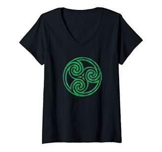 Celtic Womens Ireland Green Knot Irish Vintage Spiral Newgrange V-Neck T-Shirt