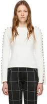 3.1 Phillip Lim White Embellished Sleeve Sweater