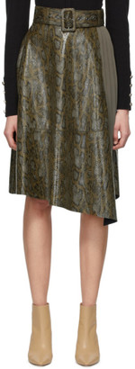 ANDERSSON BELL Khaki Python Belted Skirt