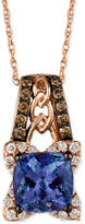LeVian Blueberry Tanzanite (1-3/8 ct. t.w.) and Diamond (1/3 ct. t.w.) Pendant Necklace in 14k Rose Gold, Only at Macy's