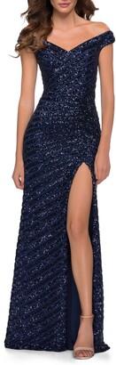 La Femme Sequin Stripe Off the Shoulder Gown