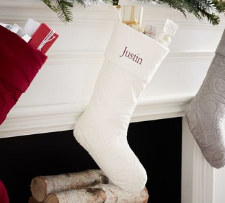 Pottery Barn Scroll Quilted Velvet Personalized Stockings