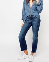 7 For All Mankind Cropped Bootcut Jeans With Raw Hem