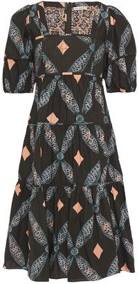 Ulla Johnson Nora Tiered Quilted Printed Cotton-poplin Dress