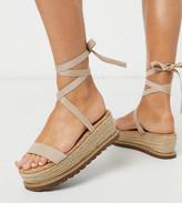 BEIGE Asos Design ASOS DESIGN Wide Fit Winnie tie leg espadrille flatforms in