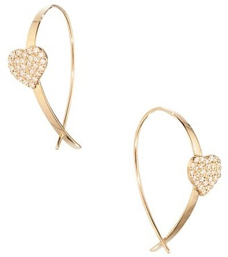 Lana Girl 14K Yellow Gold & Diamond Heart Upside Down Hoop Earrings