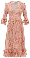 Adriana Degreas Aloe-print Ruffled-hem Silk-crepe Dress - Womens - Pink Print