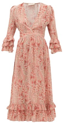 Adriana Degreas Aloe-print Ruffled-hem Silk-crepe Dress - Pink Print