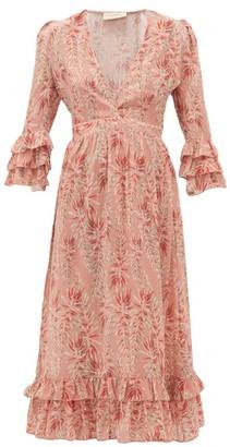 Adriana Degreas Aloe-print Ruffled-hem Silk-crepe Dress - Pink Print