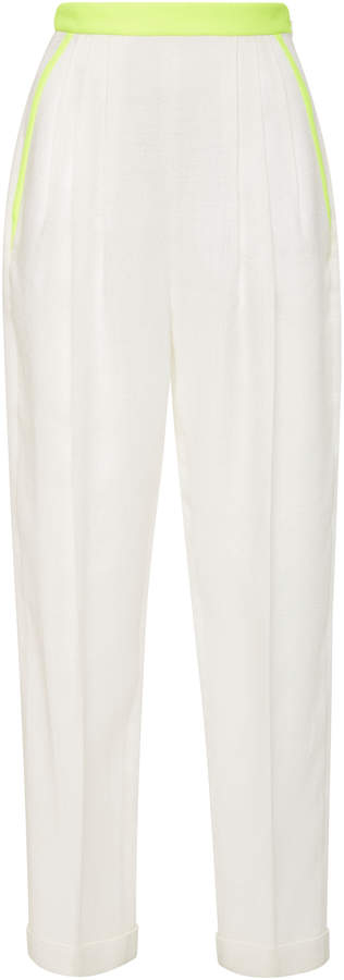 DELPOZO Pleated Voile Slim-Leg Pants