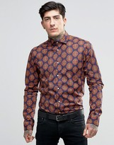 Scotch & Soda Shirt With All Over Paisley With Cut Away Collar In Slim Fit With Stretch In Navy