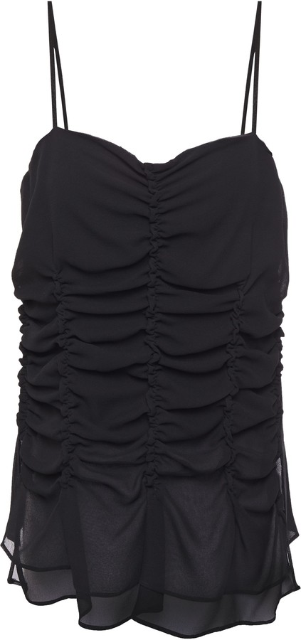 Carven Ruched Silk-georgette Top