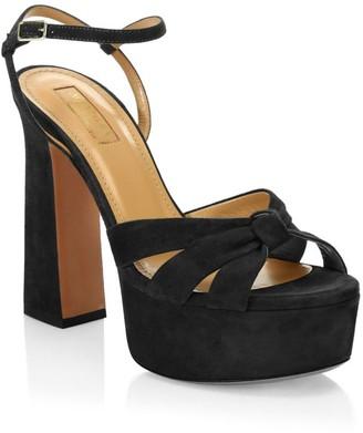 Aquazzura Baba Suede Platform Sandals