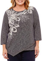 Alfred Dunner Montego Bay Spacedye Floral T-Shirt- Plus