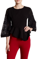 Gracia Lace Bell Sleeve Peplum Blouse