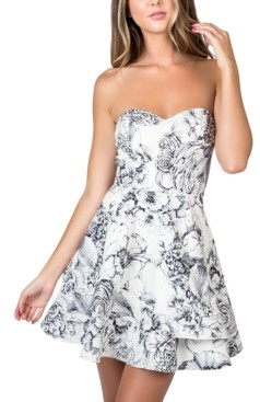 B. Darlin Juniors' Strapless Ruffled A-Line Dress