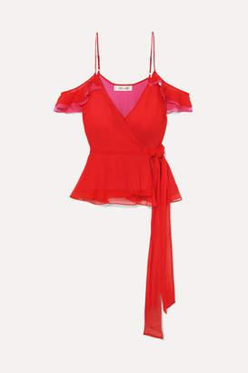 Diane von Furstenberg Kemma Cold-shoulder Silk-chiffon Wrap Top - Red