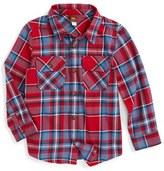 Tea Collection Oi Plaid Flannel Shirt (Toddler Boys & Little Boys)