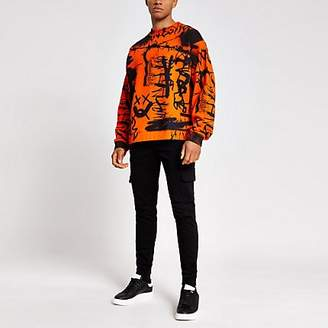 River Island Jaded London orange graffiti sweatshirt