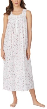 Eileen West Cotton Floral-Print Venise Lace Ballet Nightgown