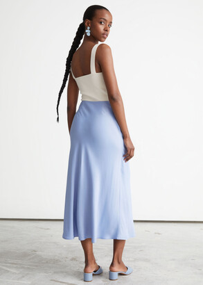And other stories Satin A-Line Midi Skirt