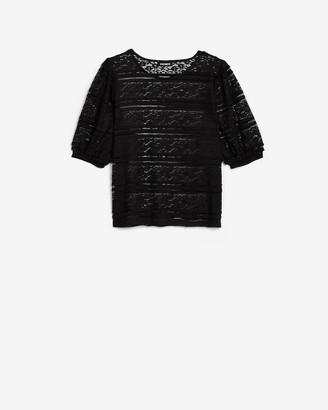Express Sheer Lace Puff Sleeve Tee
