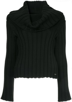 Chanel Pre Owned Cowl Neck Ribbed Blouse