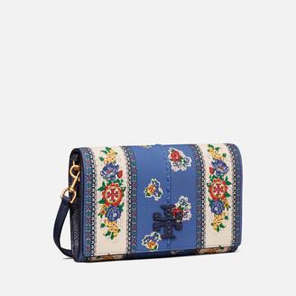 Tory Burch Women's Mcgraw Floral Wallet Cross Body Bag - Blue Tea Rose Border