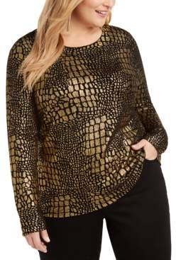 INC International Concepts Inc Plus Size Croco-Print Sweater, Created For Macy's