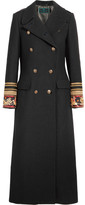 Etro Embroidered Double-breasted Wool-blend Twill Coat - Black