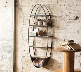 Pottery Barn Metal and Wood Oval Wall Shelf
