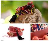 Handmade Cotton and Leather Wrap Bracelet, 'Festive Guatemala'
