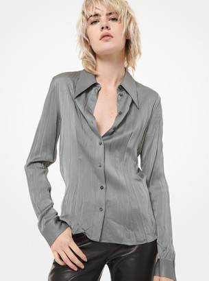 Michael Kors Collection Crushed Satin Charmeuse Blouse