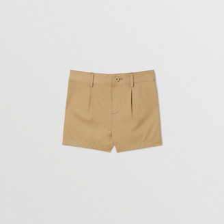 Burberry Childrens Logo Applique Cotton Twill Tailored Shorts