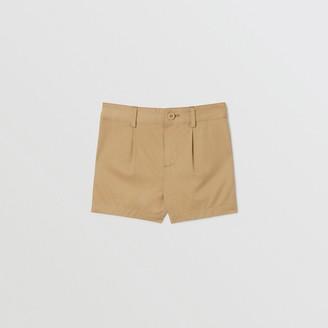 Burberry Logo Applique Cotton Twill Tailored Shorts