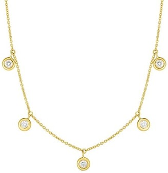 Roberto Coin Diamond By The Inch 18K Yellow Gold & Diamond Dangle Necklace
