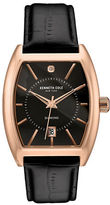 Kenneth Cole Hamilton Rose Goldtone Stainless Steel and Leather Barrel Strap Watch, 10030819