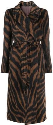 Tagliatore Tiger Stripe Belted Coat