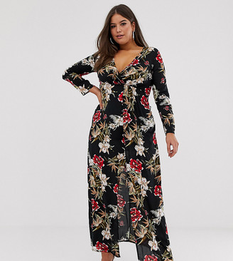 Club L London Plus Plus wrap front floral maxi dress-Multi
