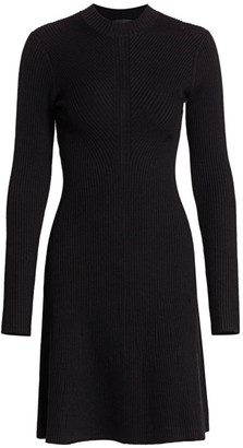 Theory Moving Ribbed Knit Mini Dress