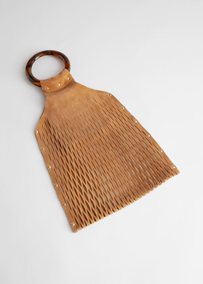 And other stories Circle Handle Suede Cut Out Clutch