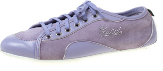 Gucci Purple Leather And Suede Lace Up Low Top Sneakers Size 38.5