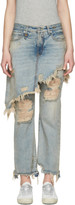 R 13 Blue Double Classic Shredded Jeans