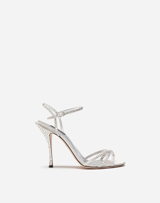 Dolce & Gabbana Satin Sandals With Fusible Rhinestone Detailing