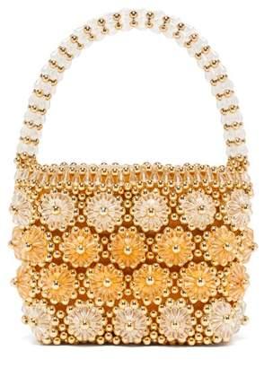 Shrimps Shelly Beaded Floral Handbag - Womens - Gold Multi