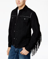 INC International Concepts Anna Sui x Men's Denim Jacket with Fringe Trim, Created for Macy's