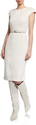 Max Mara Leandro Pinstriped Linen Cap-Sleeve Dress